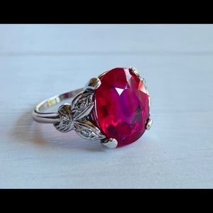 Vintage 14k White Gold Ruby Diamond Cocktail Ring